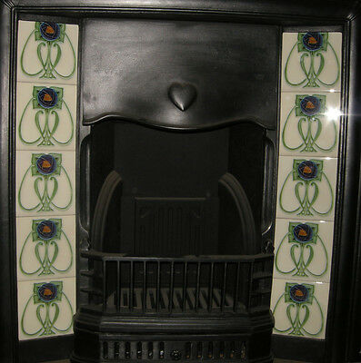 SUPERB ART NOUVEAU / ARTS & CRAFTS MACKINTOSH ROSE FIREPLACE TILES SET