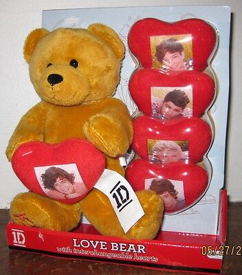 """1D One Direction 9"""" Love Bear & 5 Changeable Hearts PERFECT FOR VALENTINES DAY!!"""