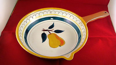 STANGL POTTERY OPEN SKILLET LARGE YELLOW TRIM HAND PAINTED VINTAGE