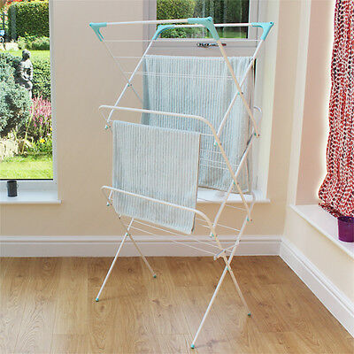 JVL Indoor Outdoor Folding 3 Tier Concertina Laundry Washing Clothes Horse Airer