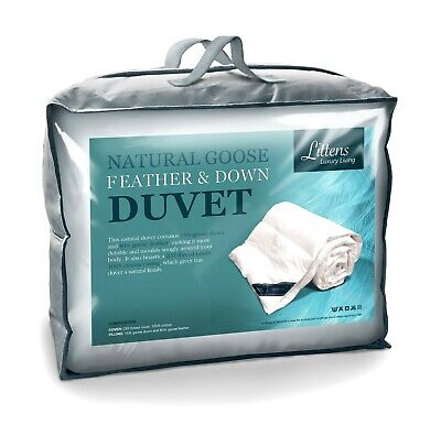 Luxury Natural Goose Feather & Down Duvet Quilt, 15% Down, Pure Cotton Casing