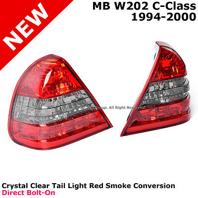 MB C-Class W202 94-00 Rear Bumper Tail Light Lamp Red Smoke Direct Replacement