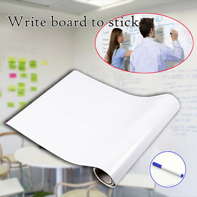 Removable WhiteBoard Wall Paper Sticker Dry Board Erase Office Vinyl Decal + Pen