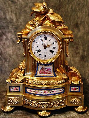 Beautiful Empire French Antique Gilt Solid Bronze Sevres Porcelain Clock 19Th C