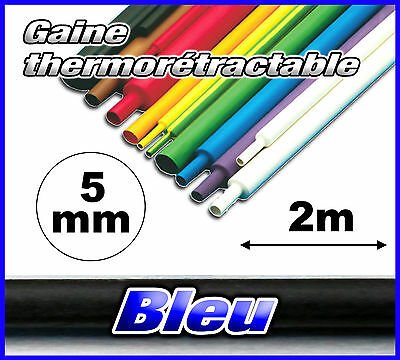 GB05-2# gaine thermorétractable bleu 5mm 2m ratio 2/1  gaine thermo