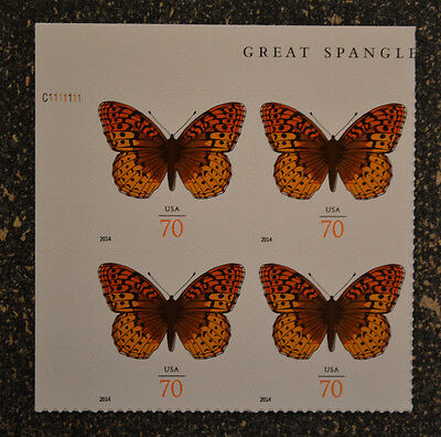 USA2014 #4859 70c Great Spangled Fritillary Butterfly - Plate Block of 4 Mint NH