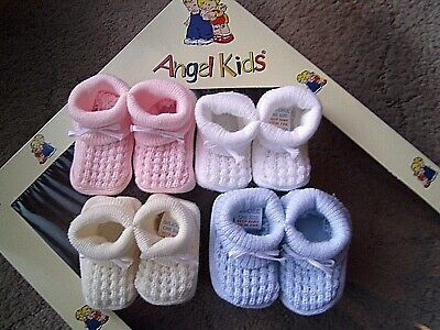 Baby Blue/Pink/White/Cream Boy/Girl Acrylic Knitted Bow Bootees/Booties One Size