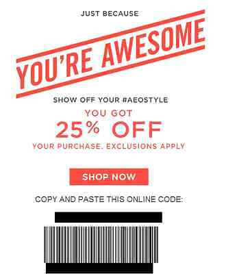 American Eagle Aerie AEO 25% off Discount Coupon Code, Exp 2/23