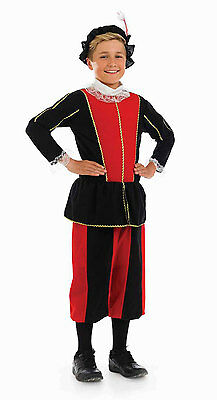 Boys Tudor Prince Shakespeare Red Black Fancy Dress Costume Outfit New 8 10