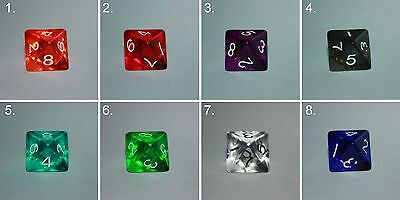 Würfel-Dice-Gem W8-Tranparent-Rollenspiel-Lifecounter-Tabletop-RPG-d20-New-Neu