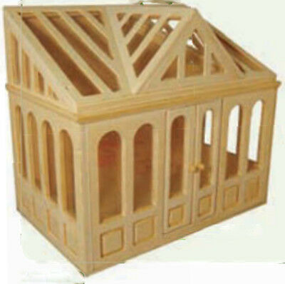 1:12 Scale Dolls House Miniature Flat Pack Unpainted Conservatory Accessory