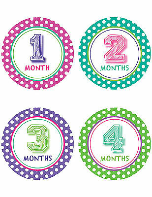 "Baby Boy Girl Monthly Stickers 1-12months New Polka Dots Drop Shadow 4"" Circle"