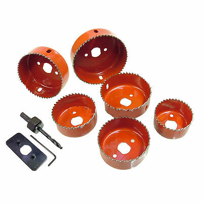8 Piece Down Light Installers Hole Saw Kit - 50mm, 60mm, 65mm, 72mm, 75mm 86mm