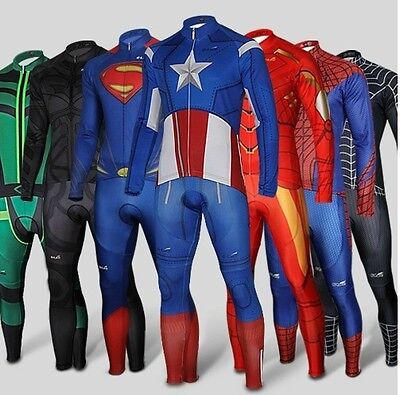 Superhero Spiderman Captain Superman long Sleeve Bike Cycling Jersey+Pants Short