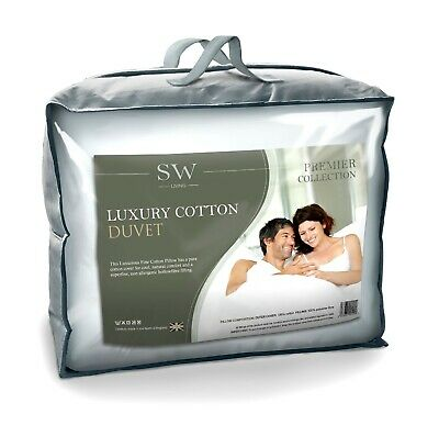 Luxury Fine Cotton Superking Bed Size Duvet Quilt, 100% Cotton, Hollowfibre