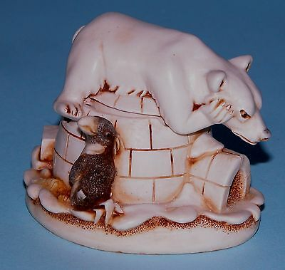 "Harmony Kingdom box TJPB2 ""When Nature Calls"" Polar Bear, penguins ret 2002 NIB"