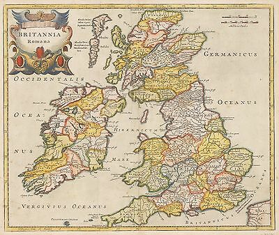HJB-AntiqueMaps : Britannia Romana (UK) By: Robert Morden 1695 (pub) London