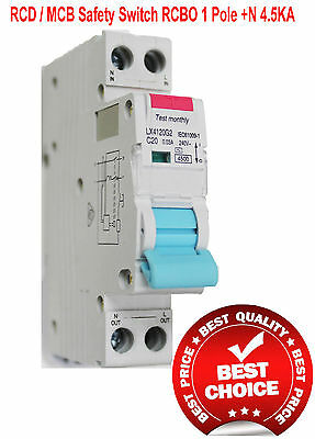 Single RCD / MCB Safety Switch Circuit Breaker RCBO 1 Pole +N 4.5Ka 10A Board