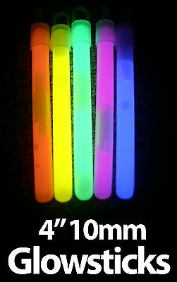 "4"" Bright 10mm Glow Sticks - Coloured Glowsticks - Parties, Events, Festivals"