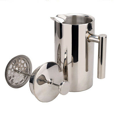 Stainless Steel French Press Plunger Filter Pot Flower Tea Coffee Maker Cup