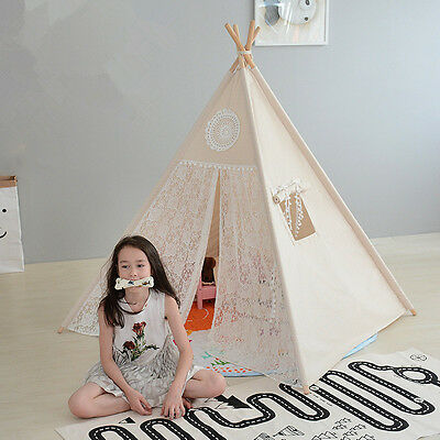 Large Lace Kids Boys Girls Beige Teepee Outdoor Tent w/ Cushioned Floor Mat