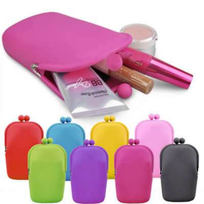 WHOLESALE JOB LOT 12 x NEON RUBBER SILICONE PURSE PHONE HOLDER MAKEUP COSMETIC