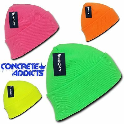 ef76e8550b1 Neon Fluorescent Knit Cuff Beanie Hat Skull Snowboard Winter Warm Ski Hats  NEW