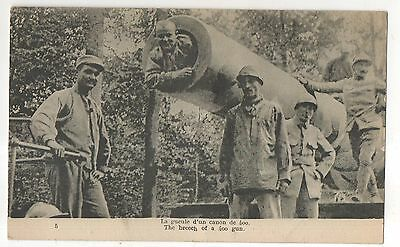 Soldier Posing in a Large 400 Artillery Gun Vintage World War I WWI Postcard