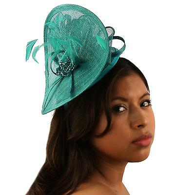 Handmade Feathers Bead Headband Fascinator Disc Millinery Cocktail Hat Turquoise