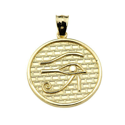 Solid Yellow Gold The Eye of Horus Round Charm Pendant (Made in USA)