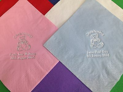 100 Personalised Christening Napkins Luxury 3Ply 40Cm Soft Feel