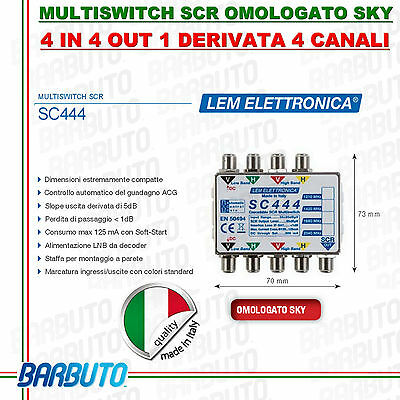 Multiswitch Scr 1Out Attivo Autoregolazione 4 Porte Lem Elettronica Model Sc444