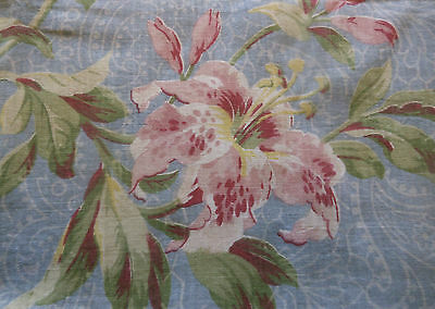 Antique Shabby Cottage Botanical Lily Cotton Floral Fabric ~ pink blue ~ 1900 ~