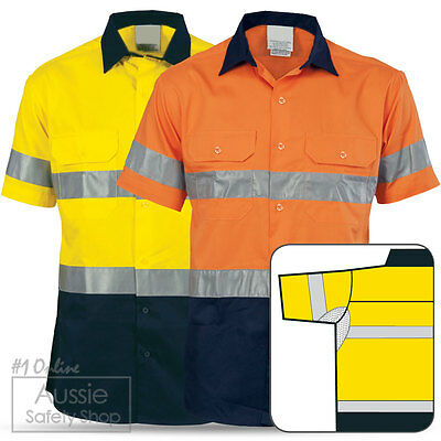 3 X Hi Vis Light Weight Day/Night Cotton Underarm Back Vents Short Sleeve Shirts