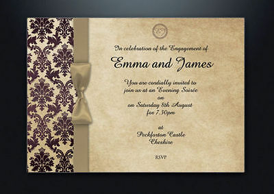 Personalised Wedding Invitations Brown Gold Damask K