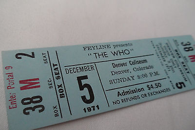THE WHO 1971 Unused CONCERT TICKET w/KEITH MOON - Denver, CO