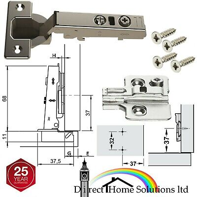 30 x HAFELE CONCEALED KITCHEN DOOR CABINET CLICK ON HINGES 110 SOFT CLOSE