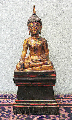 Antique 1900 Burmese Gilded Teak Wood Touching The Earth Enlightened Buddha