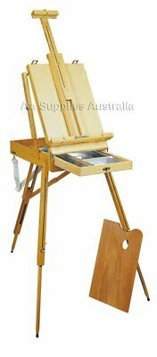 Luca French Box Easel with metal storage tray, wooden Palette and shoulder strap