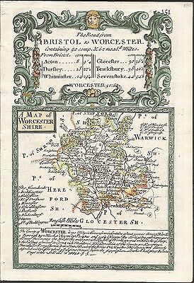 Antique map, Worcestershire / Road from Bristol to Worcester