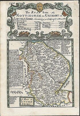 Antique map: Lincolnshire / Road from Monmouth to Lanbeder (2)