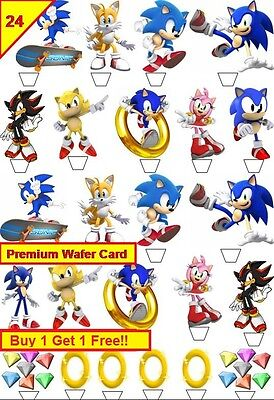 52 Sonic The Hedgehodge Super Mario Cup Cake Card Wafer Toppers Edible STAND UP