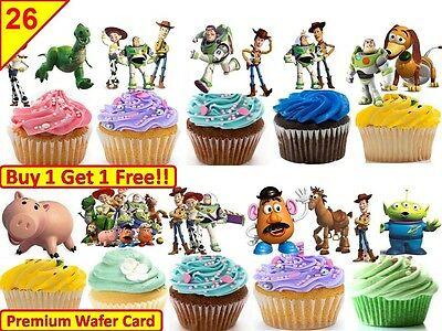 52 Toy Story Birthday Party Cup Cake Card Wafer/Rice Toppers Edible STAND UP