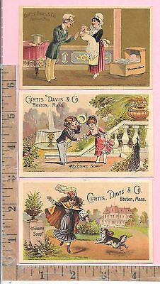 3 Vict Adv Trade Cards Curtis, Davis & Co Boston Mass Welcome Soap Baby, Dog