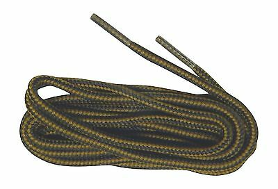 2 pair pack Brown - Black Heavy Duty Bootlaces Shoelaces Braided Round Rugged