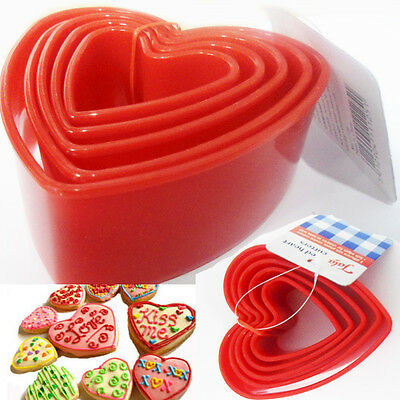Heart Shape Cookie Cutter Biscuit Plastic Moulds Pastry Mould Baking Love Red