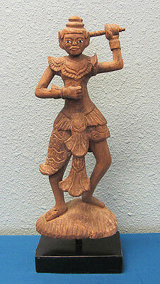 Antique 19th Century Buddhist Burmese Teak Wood Protector Carving Statue