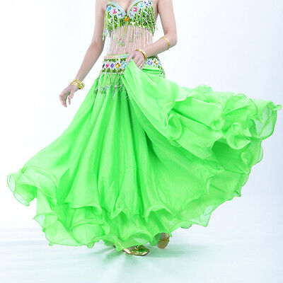 Luxury Three-layer Chiffon Hemming Long Skirt Flamenco Belly Dance 13 colors