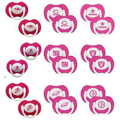 2pk Pink Pacifier NFL Pick Your Team