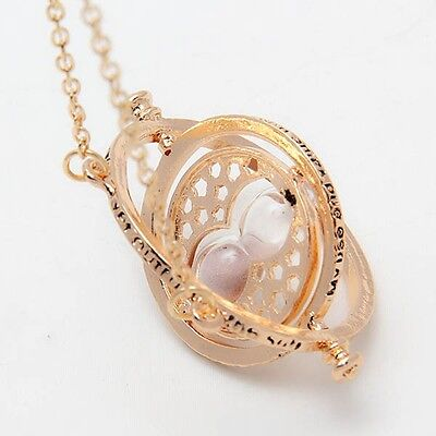 Harry Potter Hermione Granger Rotating Time Turner Necklace Gold Hourglass 2014